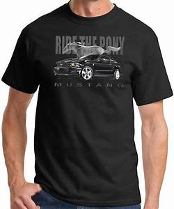 Ford Mustang T-Shirt - Ride the Pony Adult Black Tee - Mens Ford Mustang Shirts