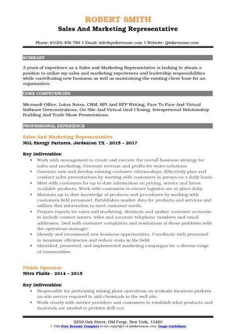 Resume Build Relationships by Sales And Marketing Representative Resume Sles Qwikresume