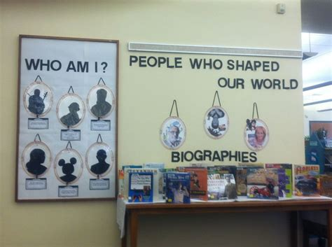 biography display library book displays library signage