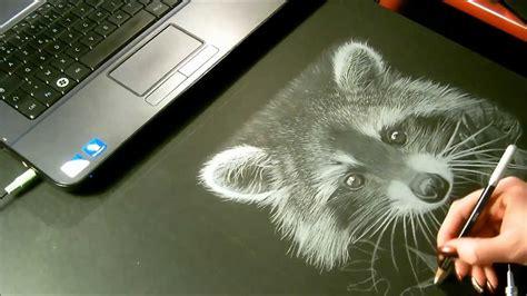 Dessin Sur Papier Noir Raccoon Speed Drawing Dessin Quot Raton Laveur Quot Crayon Blanc Sur Papier Noir