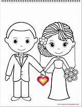 Coloring Bride Groom sketch template
