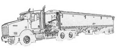 kenworth semi grain truck and trailer coloring pages - Semi Truck Trailer Coloring Pages