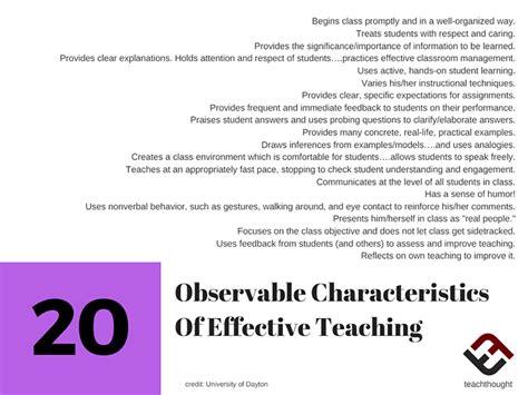 observable characteristics  effective teaching