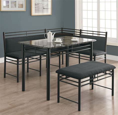 corner dining room set monarch specialties 3066 3 piece corner dining room set in grey marble charcoal beyond stores