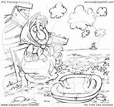 Poor Coloring Outline Watching Boat Clipart Royalty Illustration Alex Bannykh Rf sketch template
