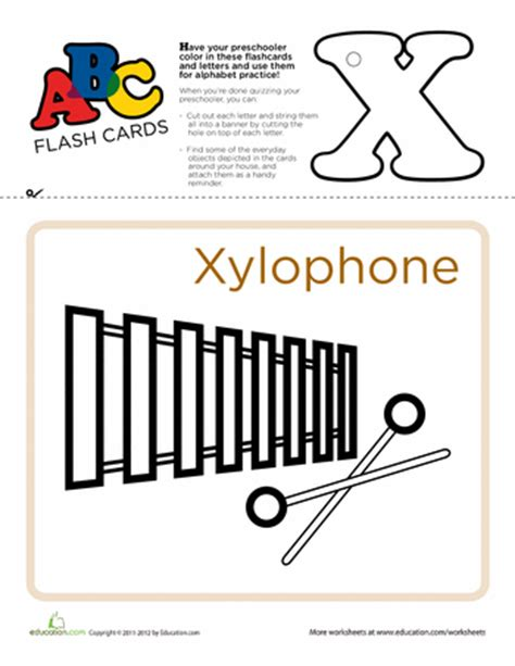 things that start with x for preschool printable abc flashcards education 246