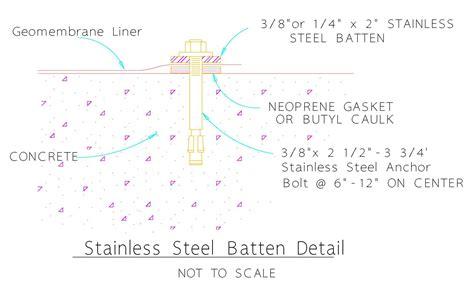 Geomembrane Batten Detail For Concrete Connection Pvc Liner