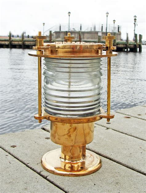 seaborn brass pedestal dock or piling light new