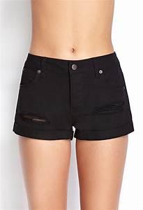 Forever 21 Cuffed Distressed Denim Shorts in Black (Denim black) | Lyst