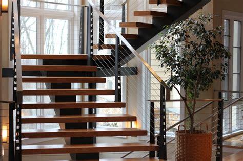 residential staircase modern staircase philadelphia  dibellos metal designs