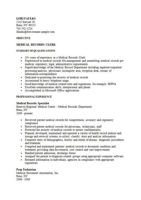 Records Description Resume by Sle Records Clerk Resume Business Sle