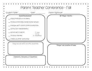 preschool parent teacher conference form fall  hey