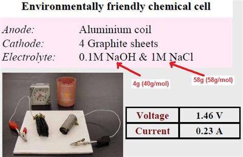graphite paper aluminium foil galvanic cell     volts