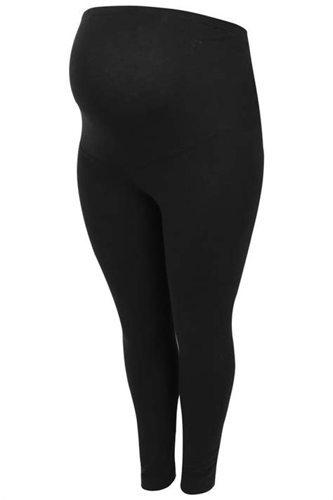 BUMP IT UP MATERNITY Black Cotton Essential Leggings With