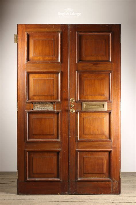 salvaged large mahogany bank double doors