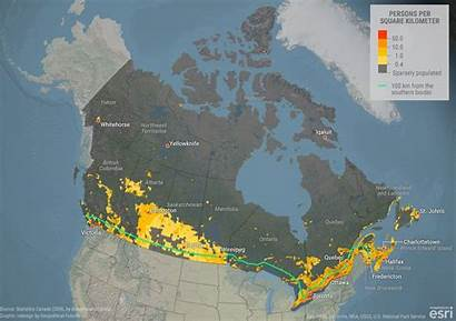 Canada Population Density Map Populated Shows Sparsely