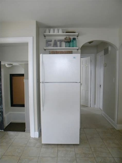 Extra storage above fridge   Kitchen   Pinterest   Shelves