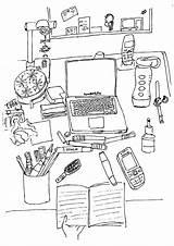 Desk Coloring Adult Books Desktop Office Colouring Desks sketch template