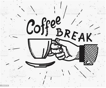 Coffee Break Retro Vector Illustration Cup Illustrations