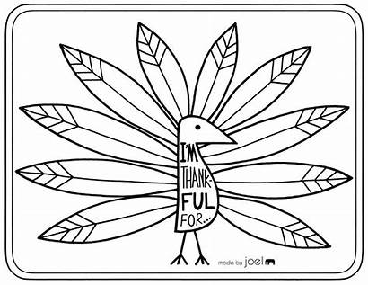 Thanksgiving Thankful Turkey Printable Coloring Placemat Pages