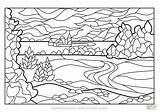 Coloring Stained Glass Landscape Colorear Colorare Paesaggio Verano Disegno Disegni Paisaje Dibujos Estivo Imagenes Stampare Adultos Paesaggi Vetrata Paisajes Dibujo sketch template