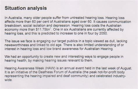 situational analysis template australian hearing s hearing awareness week caign uts library of technology