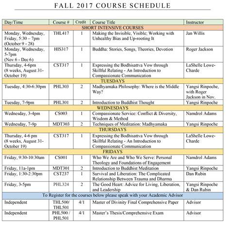 fall   schedule  links maitripa college