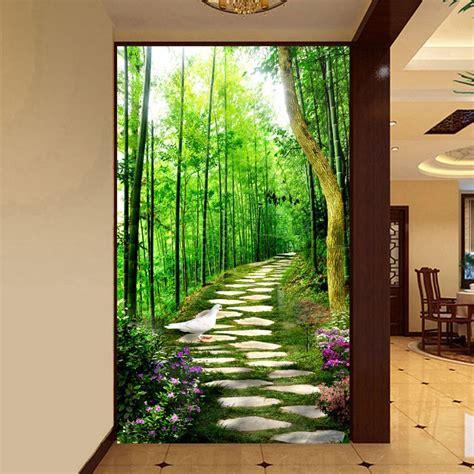 3d mural wallpaper custom size bamboo forest small road entrance hallway murales de pared modern