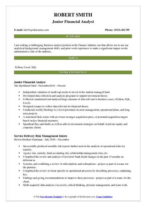 Junior Financial Analyst Resume Sles by Financial Analyst Resume Business Analyst Resume For