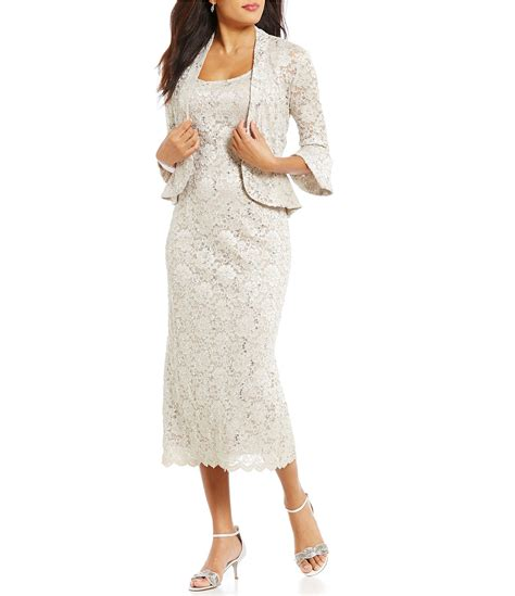 rm richards bell sleeve lace  piece jacket dress dillards