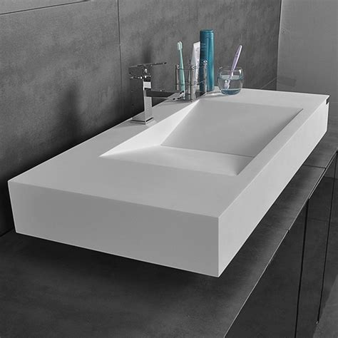 matteglossy white wall mount rectangular floating sink