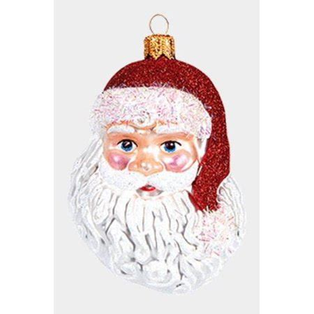 santa claus face polish glass christmas tree ornament