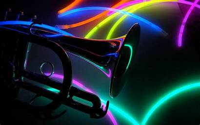 Neon Trumpet Notes Wallpapers Colors Backgrounds Background