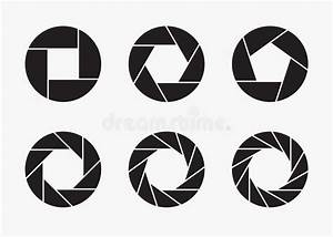 Set Of Black Camera Lens Aperture Icons  Stock Vector