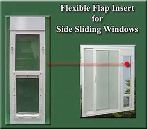 Ideal flexible flap pet doors for side sliding window inserts for Dog door window insert