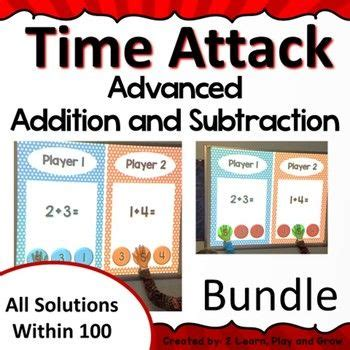 digital team math game time attack bundle addition