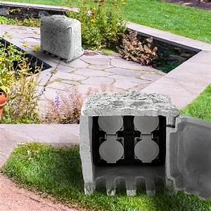 Steckdosen Im Garten : stromverteiler in steinform mit vier steckdosen garten freizeit heimwerker au ensteckdosen ~ Orissabook.com Haus und Dekorationen
