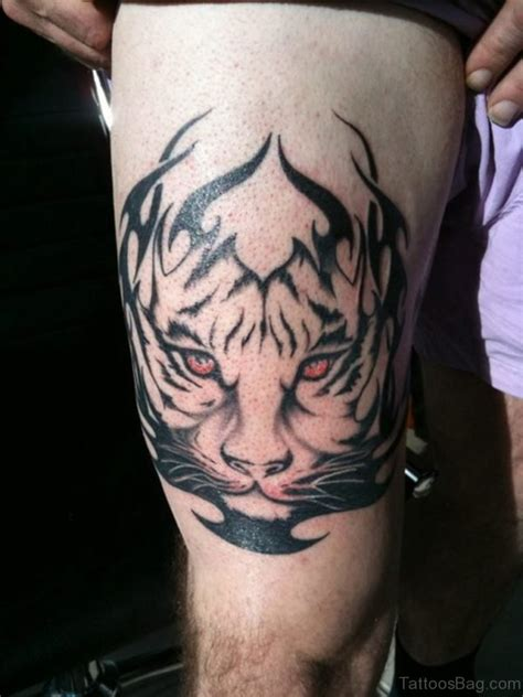 amazing tribal angry tiger head tattoo design
