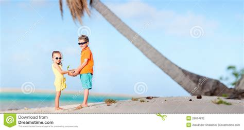 Two Kids At Beach Panorama Stock Photography  Image 26814832