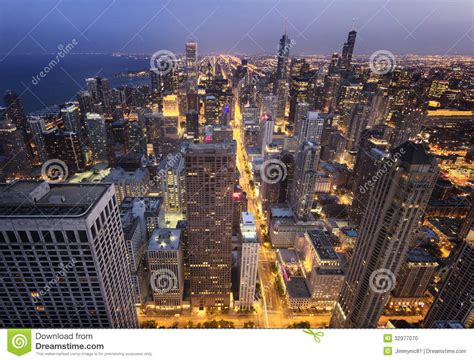 Chicago City From Above At Night Stock Photo - Image of ...