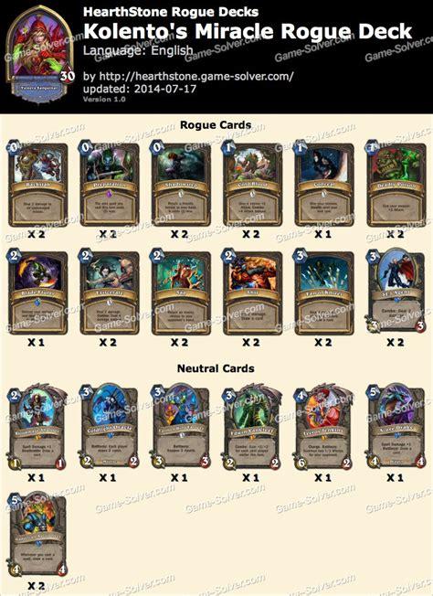 hearthstone rogue deck list kolento miracle rogue deck