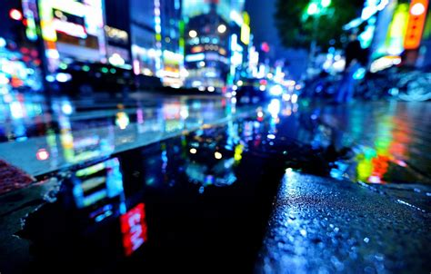 wallpaper wet water night  city lights rain