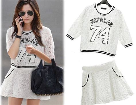 Sporty Look Lace Cute White Crop Top And Skirt Set Lace ...