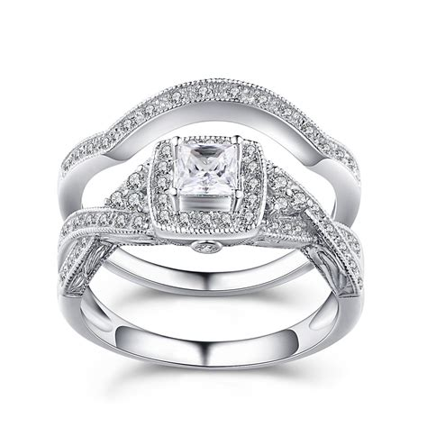 princess cut gemstone  sterling silver engagement ring