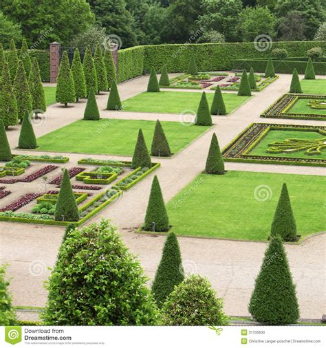 formal garden stock photo image  park molded bushes