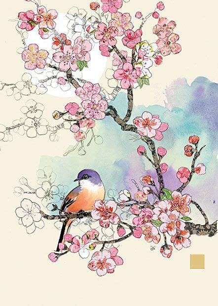 Bibit Collagen Japanese Cherry bugart collage cherry blossom bird collage new