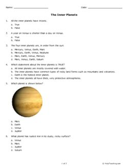 the inner planets grade 6 free printable tests and