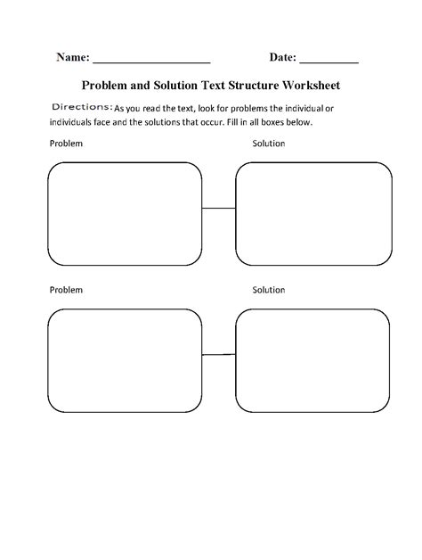 problem and solution text structure worksheets teach