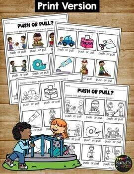 push  pull worksheets  force  motion activity