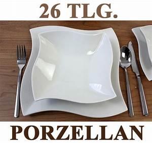 Geschirr Set Porzellan : porzellan 26 tlg tafelservice eckig teller set geschirr ebay ~ A.2002-acura-tl-radio.info Haus und Dekorationen